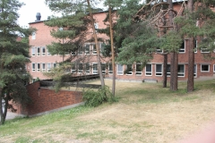 The rear side of Nobels väg 15a from the hill leading down to The Department of Neuroscience (summer 2018)