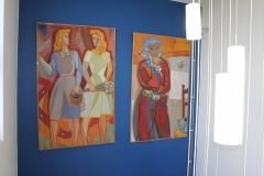 Sketches on plywood by Tage Hedqvist, von Eulers väg 8, stairway, may 2018