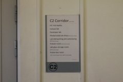 Sign outside the corridor on the second floor at MTC