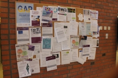 The notice board in the reception