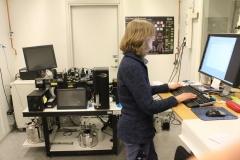 Maria Johansson in the FACS facility